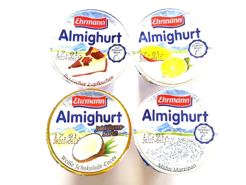 Ehrmann Almighurt Mango Limette Mohn-Marzipan Russischer-Zupfkuchen Weiße Schokolade-Cocos