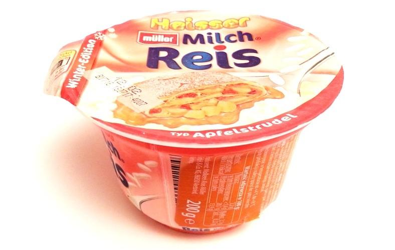Muller, Winter-Edition Heisser Milch Reis Zucker & Zimt, Apfelstrudel (1)