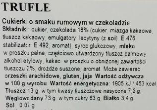 Odra, Trufle, cukierki czekoladowe na wage z alkoholem, skład i wartości odżywcze, copyright Olga Kublik