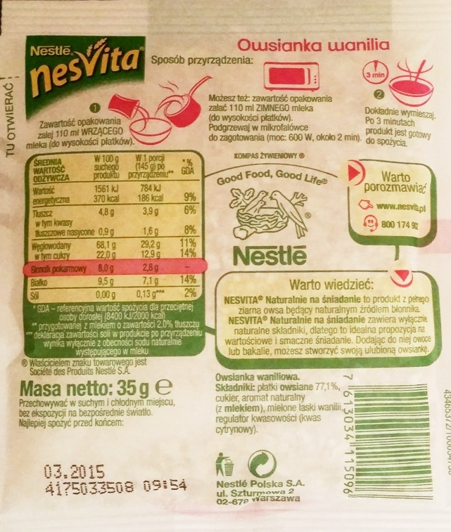 Nestle, NesVita Naturalnie na śniadanie owsianka wanilia (1)