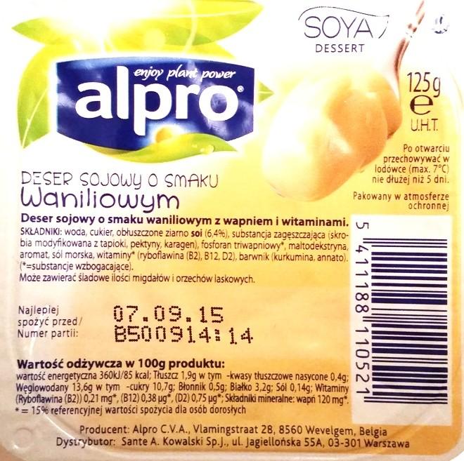 Alpro, Deser sojowy o smaku waniliowym (2)
