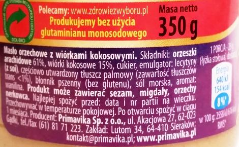 Primavika, Masło orzechowe z wiórkami kokosowymi (1)