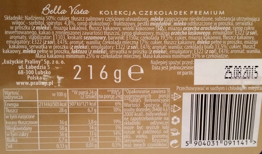 Łużyckie Praliny, Bella Vista Kolekcja czekoladek Premium (3)