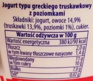 Piątnica, Jogurt typu greckiego 2 tł. truskawkowy z poziomkami (2)