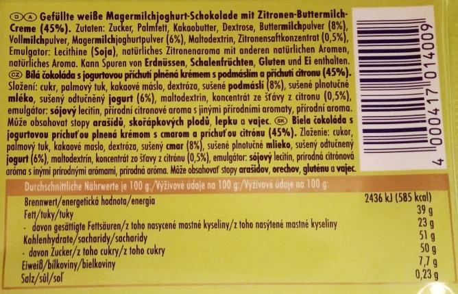 Ritter Sport, Buttermilch-Zitrone (2)