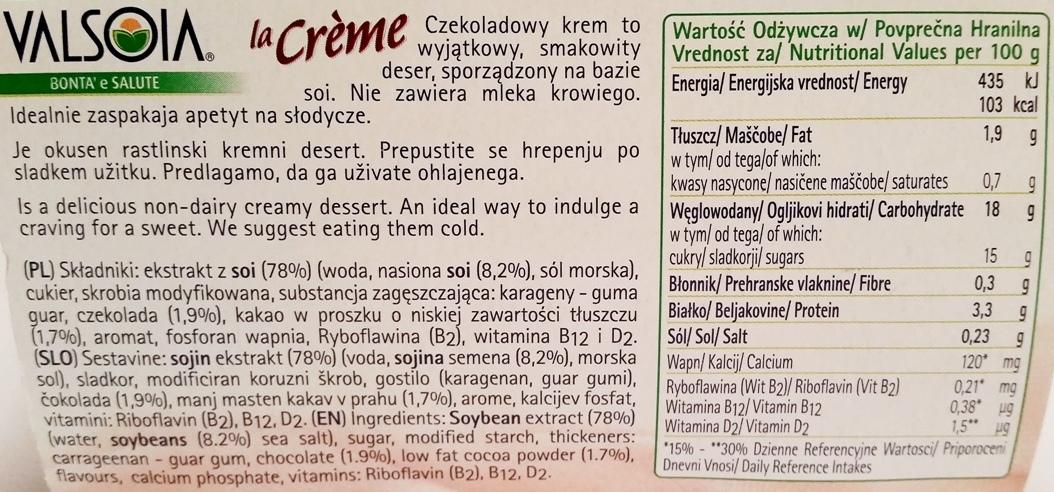 Valsoia, la Creme Choco (2)