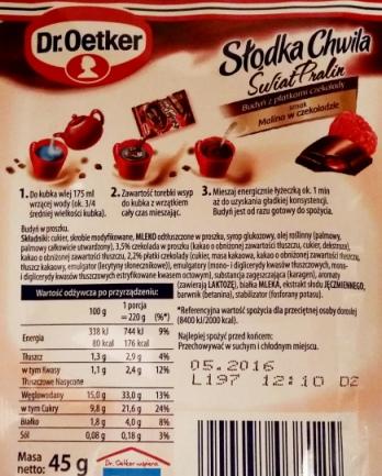 Dr. Oetker, Słodka Chwila Świat Pralin Malina w czekoladzie (2)