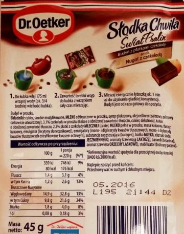 Dr. Oetker, Słodka Chwila Świat Pralin Nugat z czekoladą (2)