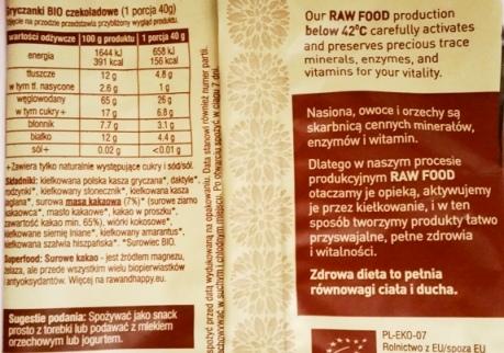 Raw and Happy, Gryczanki czekoladowe skład