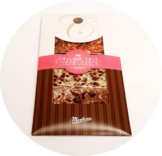 Meybona, Collage Trio Zartbitterschokolade mit Erdbeer-Pfeffer, Vollmilchschokolade mit Cranberry-Kokos, Weisse Schokolade mit Kirsch-Mohn (1)