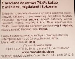 Chocolate Bush, Czekolada deserowa 70,4 kakao z wiśniami, migdałami i kokosem (2)