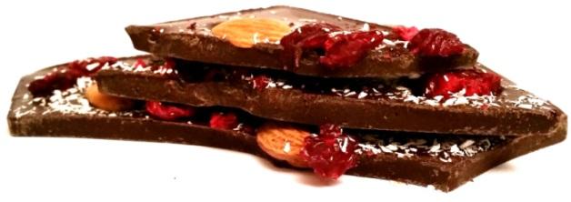 Chocolate Bush, Czekolada deserowa 70,4 kakao z wiśniami, migdałami i kokosem (3)