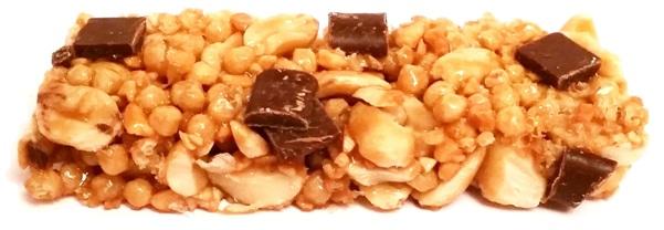 Bruggen, baton orzechowy Orzechy z czekolada mleczna, Migdaly z biala czekolada, Orzechy z czekolada karmelowa, Orzechy z rodzynkami Biedronka Testujemy (11)