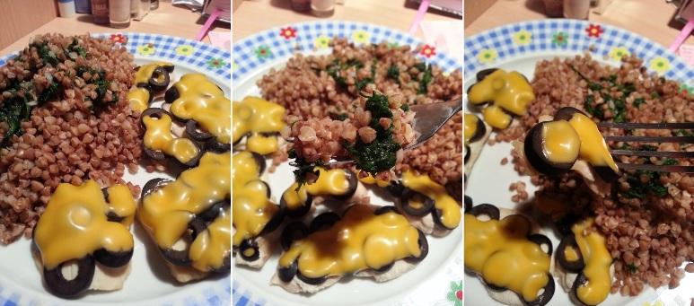 Cycek z Hochlandem i oliwkami oraz kasza ze szpinakiem2