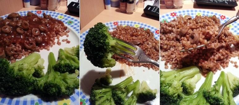 Kasza z sercami i sosem pieczeniowym oraz brokuly na parze2