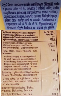 Kaufland, Pudding Vanilla flavour (2)