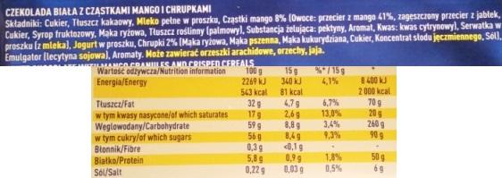 Wedel, Chrrrup biala z czastkami mango i chrupkami (4)