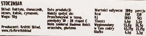 Krótki Skład, Stoczniak, raw bar, wegański naturalny baton bez glutenu i cukru, copyright Olga Kublik