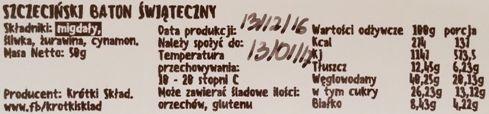 Krótki Skład, Szczeciński Baton Świąteczny, wegański raw bar - surowy baton bez glutenu, copyright Olga Kublik
