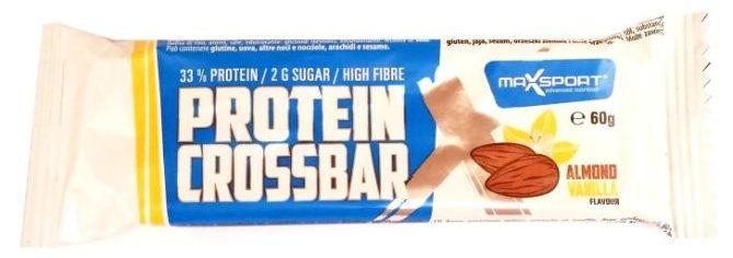 MaxSport, Protein Crossbar Almond Vanilla Flavour, proteinowy baton bez glutenu dla osób ćwiczących, smak wanilii i migdałów, copyright Olga Kublik
