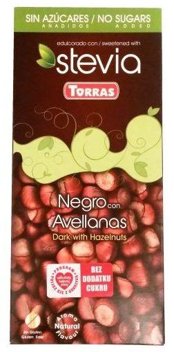 Torras, Stevia Negro con Avellanas, ciemna czekolada bez glutenu słodzona stewią z orzechami lasowymi, copyright Olga Kublik