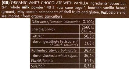 Vivani, Weisse Vanille, ekologiczna biała czekolada, skład i wartości odżywcze, copyright Olga Kublik