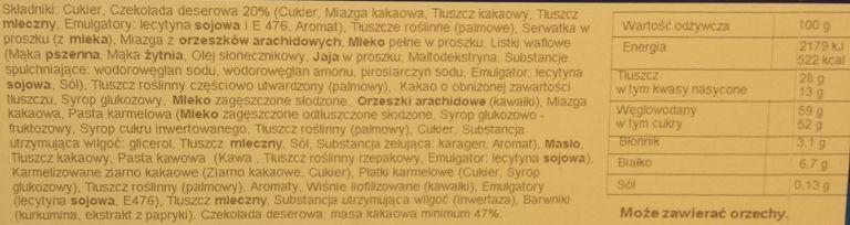 Wedel, Mieszanka Wedlowska, skład i wartości odżywcze, wersja z roku 2016/2017, copyright Olga Kublik