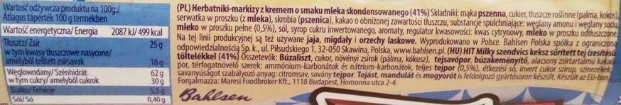 Bahlsen, Hit Milky, kruche markizy z herbatnikiem kakaowym i kremem o smaku mleka skondensowanego, skład i wartości odżywcze, copyright Olga Kublik