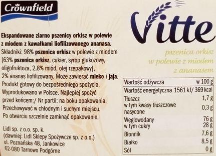 Crownfield, Vitte Orkiszowe w polewie z miodem z ananasem, płatki - preparowane zboża z Lidla, skład i wartości odżywcze, copyright Olga Kublik