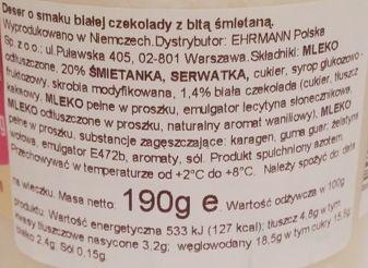 Ehrmann, Grand Dessert White Choc, deser o smaku białej czekolady z bitą śmietaną, skład i wartości odżywcze, copyright Olga Kublik