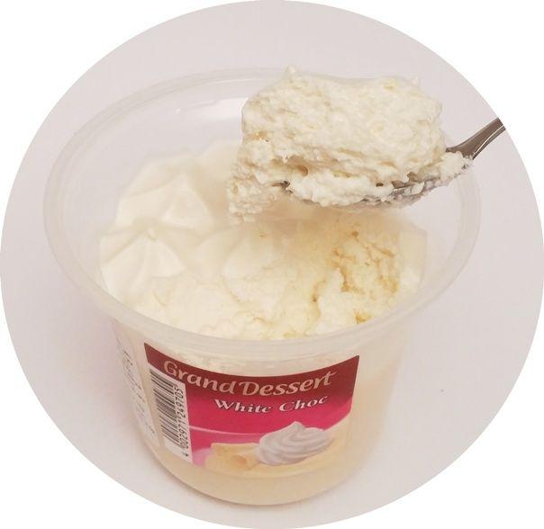 Ehrmann, Grand Dessert White Choc, deser o smaku białej czekolady z bitą śmietaną, copyright Olga Kublik