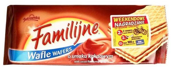 Jutrzenka, Familijne o smaku kakaowym, kruche wafelki koncernu Colian, copyright Olga Kublik