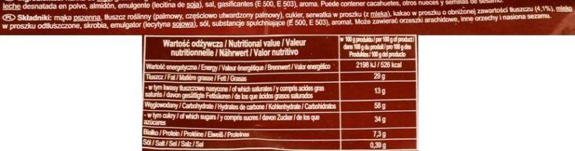 Jutrzenka, Familijne o smaku kakaowym, kruche wafelki koncernu Colian, skład i wartości odżywcze, copyright Olga Kublik