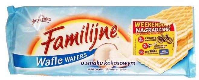 Jutrzenka, Familijne o smaku kokosowym, kruche wafle koncernu Colian, copyright Olga Kublik