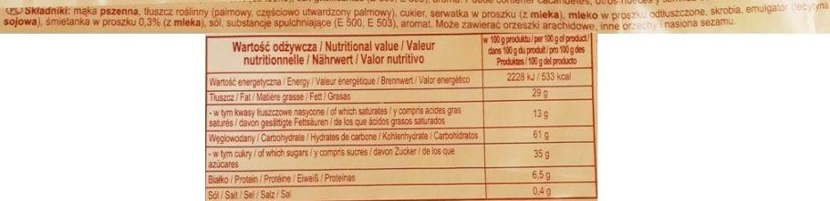 Jutrzenka, Familijne o smaku śmietankowym, kruche wafelki koncernu Colian, skład i wartości odżywcze, copyright Olga Kublik