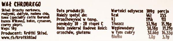 Krótki Skład, Wał Chrobrego, wegański i bezglutenowy raw bar o smaku kawy, skład i wartości odżywcze, copyright Olga Kublik
