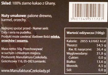 Manufaktura Czekolady, Chocolate Story Ghana 100%, ciemna czekolada, sto procent kakao, skład i wartości odżywcze, copyright Olga Kublik