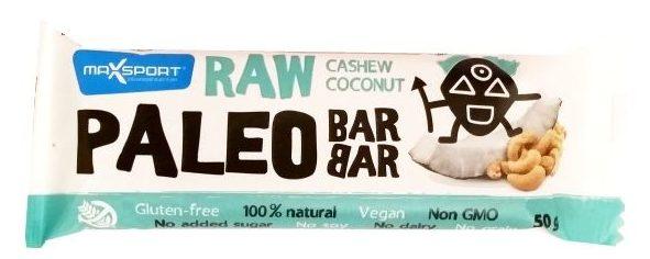 MaxSport, Raw Bar Paleo Cashew Coconut, wegański surowy baton bez glutenu z kokosem i nerkowcami, copyright Olga Kublik