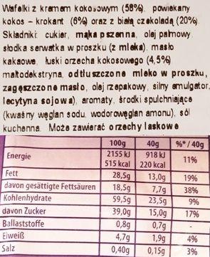 Milka, Nussini Cocos, kruchy wafelek z kremem kokosowym i wiórkami kokosowymi w białej czekoladzie, skład i wartości odżywcze, copyright Olga Kublik