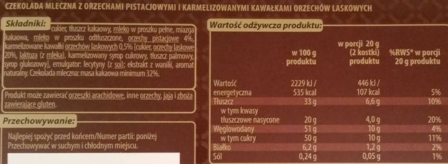 Millano-Baron, Luximo Premium Czekolada mleczna z orzechami pistacjowymi i karmelizowanymi orzechami laskowymi, copyright Olga Kublik