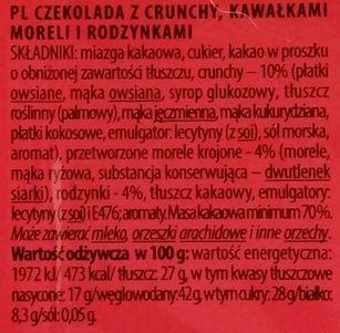 Terravita, 70% cocoa czekolada z crunchy i owocami, gorzka czekolada z rodzynkami i morelami, copyright Olga Kublik
