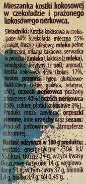 Bakalland, Koko Loko, prażone orzechy nerkowca i kostka kokosowa w mlecznej czekoladzie, skład i wartości odżywcze, copyright Olga Kublik