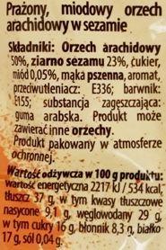 Bakalland, O! Żesz Sezam, orzeszki ziemne w miodzie z sezamem, skład i wartości odżywcze, copyright Olga Kublik