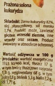 Bakalland, Słona Ona, prażona kukurydza z solą, skład i wartości odżywcze, copyright Olga Kublik