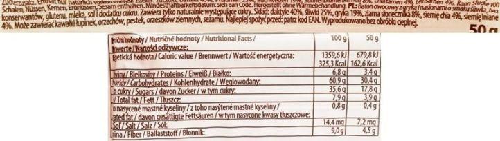 Bombus Natural Energy, Slim Snack Plum & Seeds + Chia, wegański raw bar bez glutenu o smaku śliwki, skład i wartości odżywcze, copyright Olga Kublik