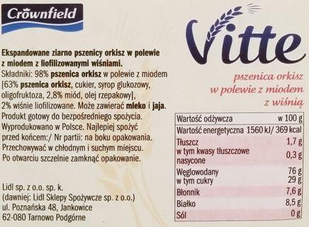 Crownfield, Vitte Orkiszowe w polewie z miodem z wiśnią, preparowane zboża z Lidla, skład i wartości odżywcze, copyright Olga Kublik