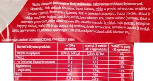 Dr Gerard, Pryncypałki Kokos, kruche wafelki w białej czekoladzie z wiórkami kokosowymi, skład i wartości odżywcze, copyright Olga Kublik