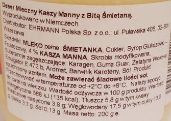 Ehrmann, Grand Dessert Grieß, deser mleczny z bitą śmietaną i kaszą manną, skład i wartości odżywcze, copyright Olga Kublik