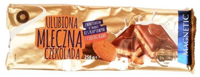 Millano-Baron, Magnetic Ulubiona Mleczna Czekolada z nadzieniem o smaku biszkoptowym z ciasteczkami, słodycze z Biedronki, copyright Olga Kublik