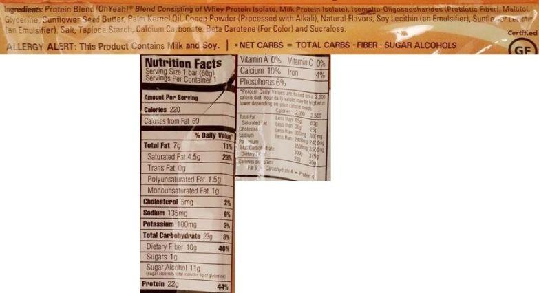 OhYeah!, Low Carb Bar Jaffa Cake Flavor, baton proteinowy light dla osób ćwiczących, skład i wartości odżywcze, copyright Olga Kublik